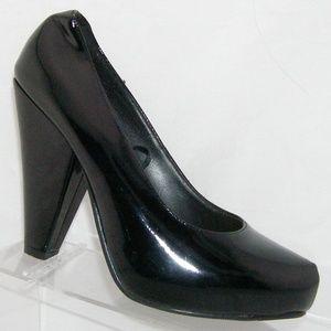 Forever 21 black man made slip on platform heels 8